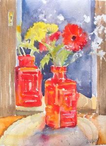 Watercolor of Flowers in Red Bottle