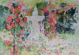 Acuarela del Jardin de Rosas en el Parque del Buen Retiro Madrid, España