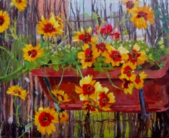 Sunny June Flowers 2017 Plein Air Painting Oil on Canvas 33 x 41 cm (13 x 16 in)