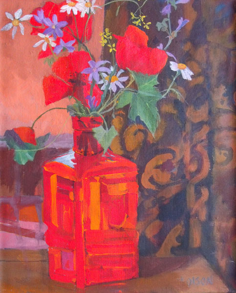 Painting of Spanish red poppies in red glass bottle realism