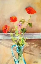 Spanish Poppies in front of Window