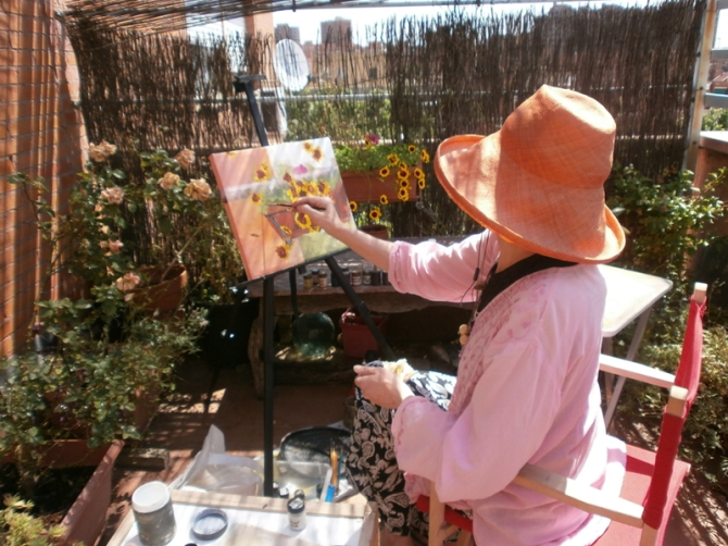 Painting Flowers on the Terrace