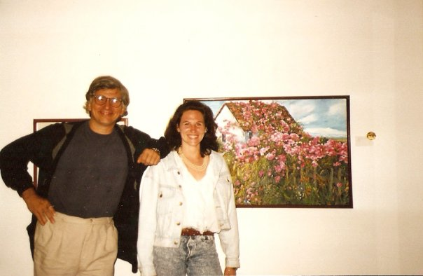 Young woman with judge at art show in San Diego Art Institute 1990