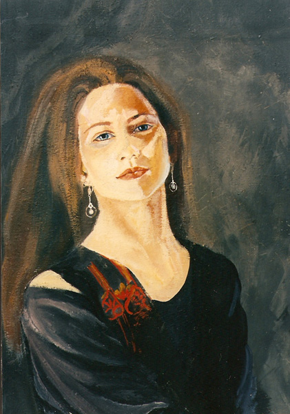 Painting of young woman with brown hair and blue eyes wearing pearl earings