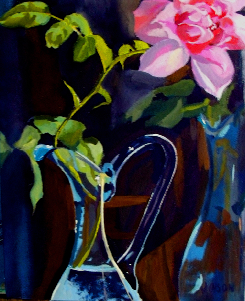 Pink Rose in blue glass ewer pitcher.