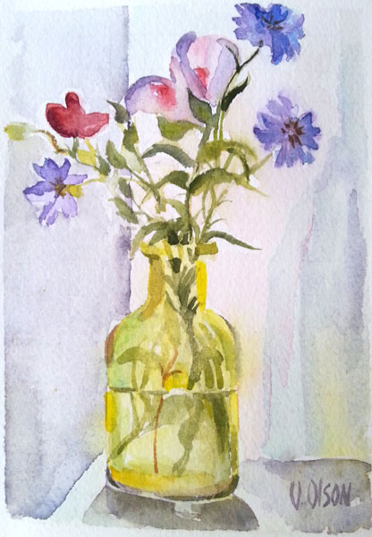 Purple flowers in a chartreuse glass bottle, a small watercolor