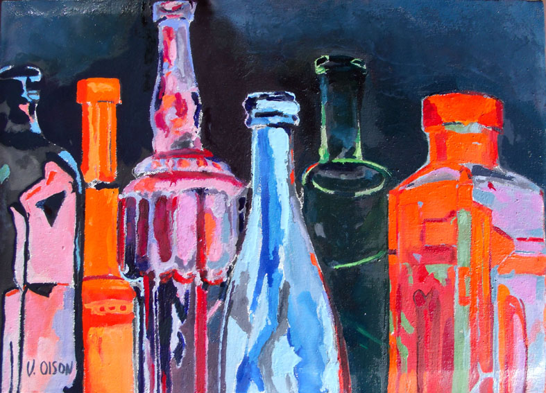 Transparent Bottles of blue, purple, violet, green and red Painting in Oil