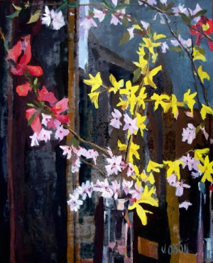 Yellow, pink and white blossoms in tall thin vase. Small painting