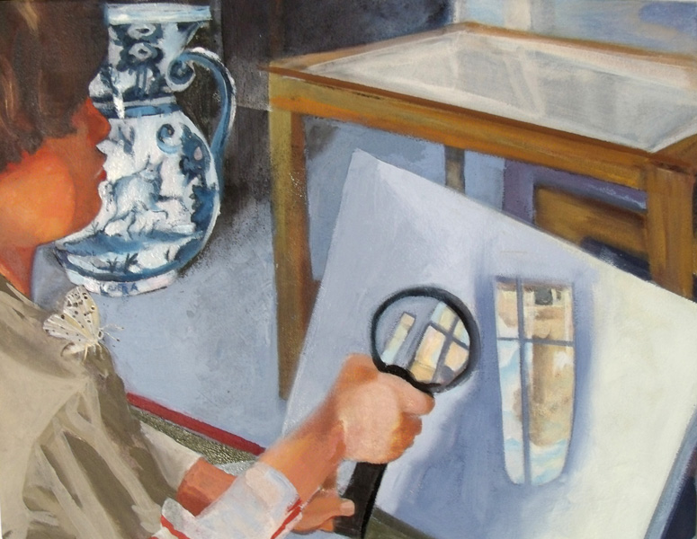 Boy looking though looking glass at a blank canvas, a painting with a ceramic vase, table and butterfly