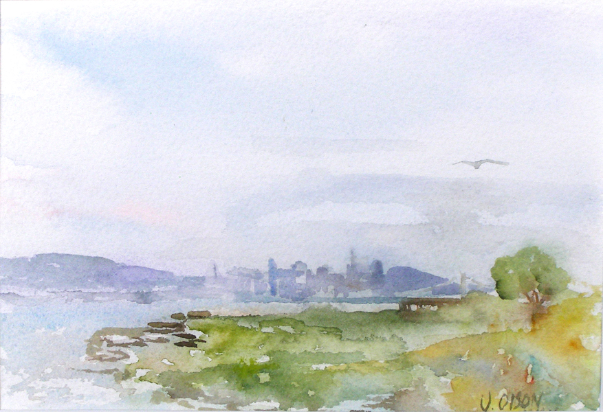 Watercolor of San Francisco skyline with big blue and pink clouds a bird in the sky and green grass weed and a tree A view from Alameda