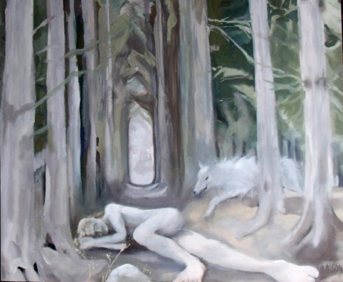 Middle aged man lying in a dark forest, A whiteish grey wolf is coming through the trees, Painting