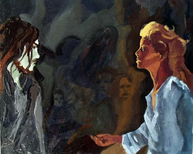 Beatriz speaking to Virgil about finding the Pilgram and help him out of the dark forest. Painting of a man with long hair and a blond with eyes brighter than the stars