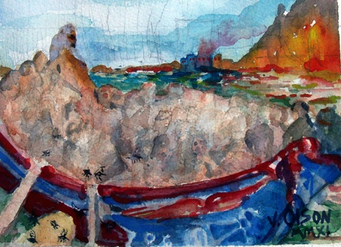 watercolor of blue boat with red trim on a rough sea