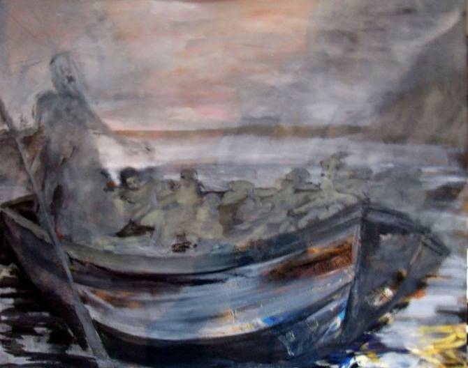 A boat in a raging sea with hundreds of lost soals waiting to board. A painting in grey scale