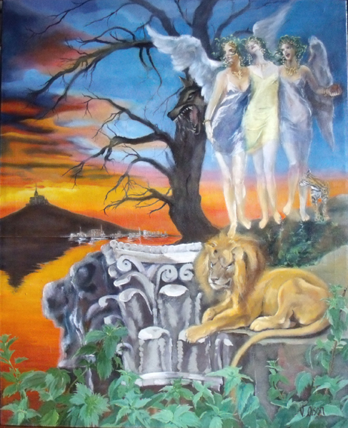 Painting of three winged females, a lion, a wolf and a cat sanimal in the evening standing on ruins.