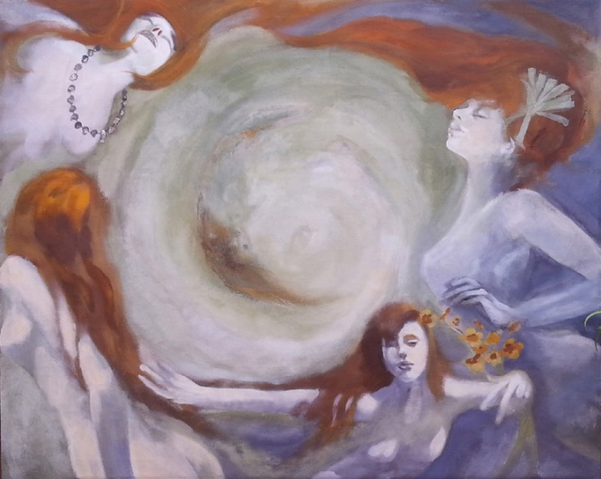 A painting of women in a circular whirl wind