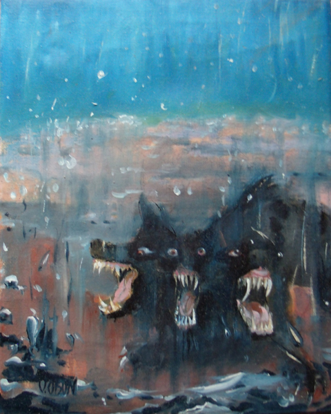 Three headed dog Cerberus barking at the spectator. Painting on canvas