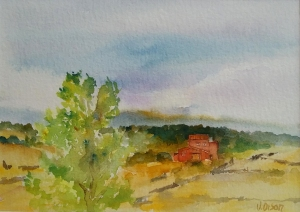 Little cottage in Cantalojas, Spain. Big cloudy sky of blues and crimsons with a brick colored house on an open prarie with a green leafy tree in the forefround a watercolor
