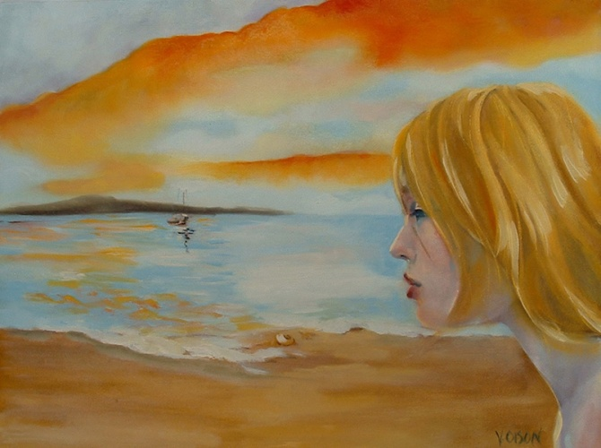 Painting of Circe looking at a ship in the horizon, beckoning Ulysses to come. Yellow colors in the sky, hair and sand with a sky blue water