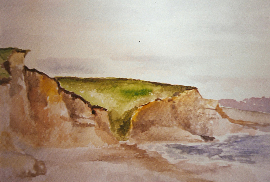 Watercolor of Drakes Beach on a cloudy day with green cliffs