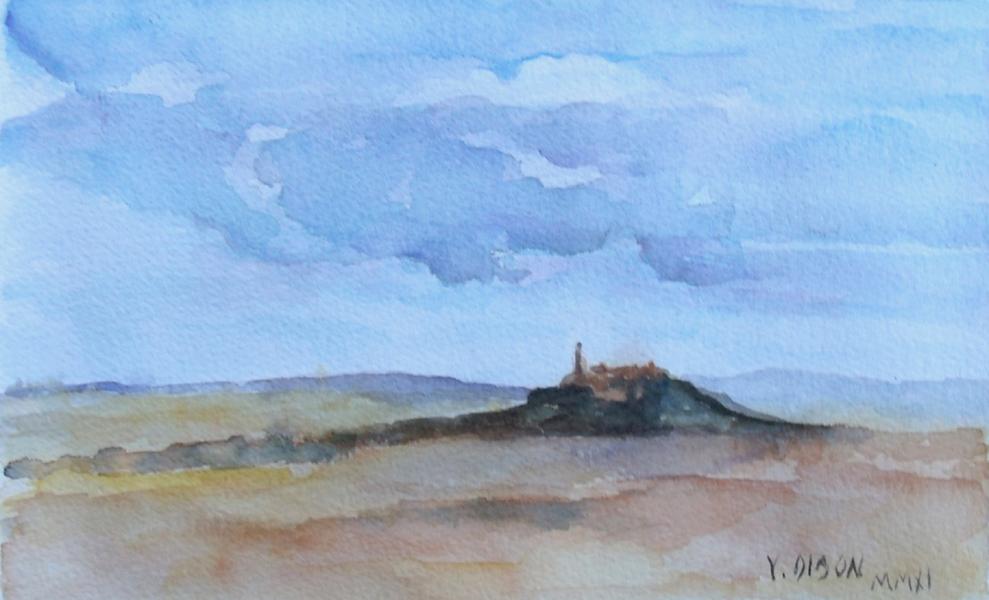 Watercolor of El Cerro de los Angeles in Madrid Spain. A big cloudy sky and a far away mountain.