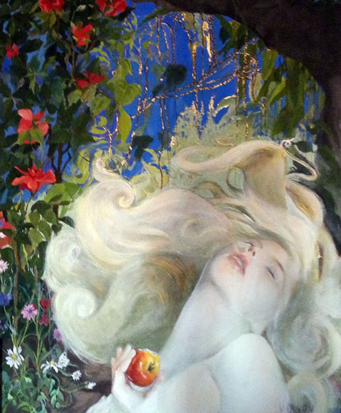 A painting of Eve with light hair and skin under the blue moonlit sky holding an apple
