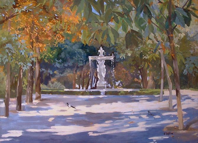 Fuente de las Ninfas in the Retiro Park of Madrid Spain