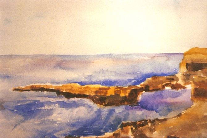 Watercolor of La Jolla Beach San Diego California Blue water, pink sky with rocky terf.