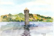 Watercolor of Lake Tildon, a park with lakes and a tower in the middle with green mountains in the background and blue sky with puffy white clouds.