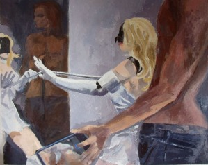 A resin oil painting of a female robot looking at a man who in turn is taking a picture of her in a room with a mirror.