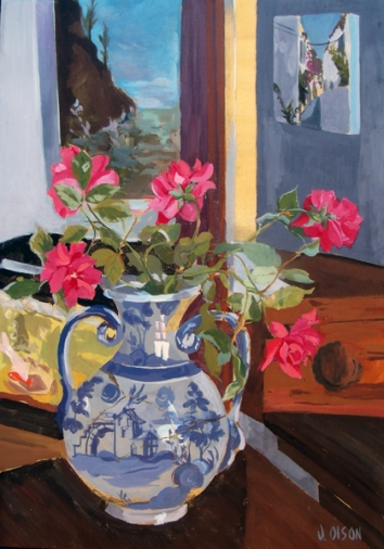 Pink Roses in Talavera vase painting