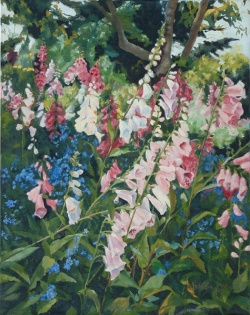 Pink bell like flowers and little blue bell like flowers growing in San Francisco Oil Painting