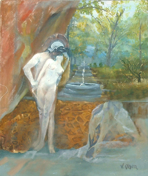 Helen and Alexander painting of nude couple embrasing in front of a courtain, bed and a view into a garden