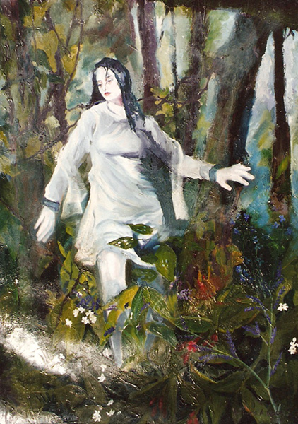 Painting of young girl in a dark forest