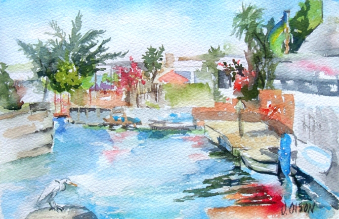 Watercolor of Alameda Lagoon A blue sky and the Blue Lagoon with houses and boats on a sunny day.