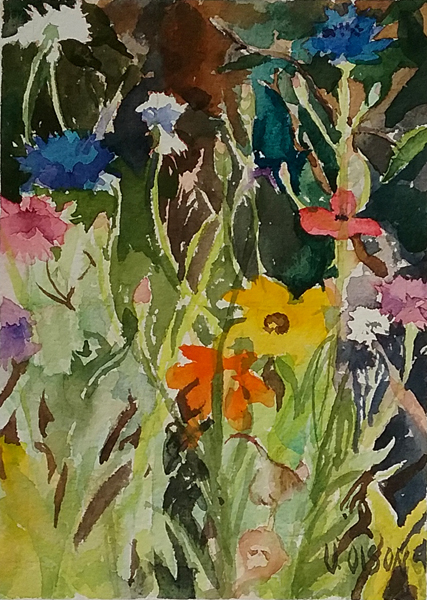 watercolor of little colorful California wild flowers. There are white, yellow, pink, orange, blue and violet flowers of different shapes.