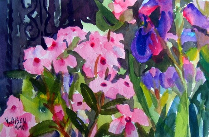Watercolor of little pink flowers and Ireises in the garden