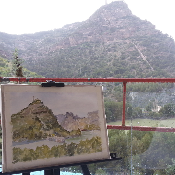 Watercolor of El Chorro and the background sky and mountain.