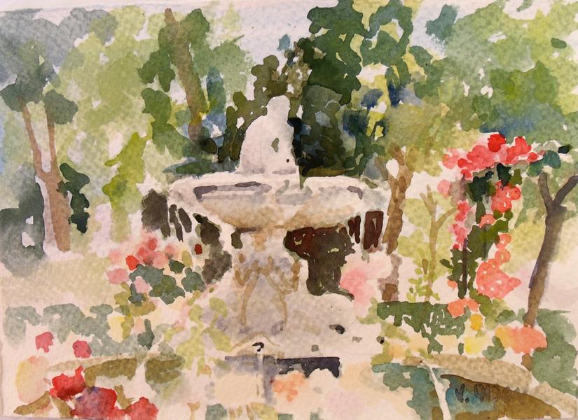 Watercolor of Retiro Park Rose Garden. A stone fountain of Faunito.