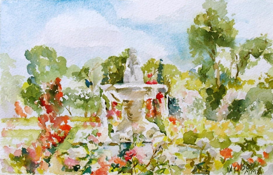 Watercolor of Spring in Retiro Rose Garden. There is a blue sky with white clouds and a stone mythological fountain.