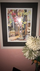 Glass Bottle with Yellow Flowers 2012 with wood frame.
