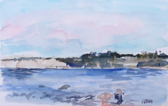 Watercolor of La Jolla Shores. A beach with hills in the background.