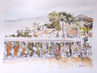 A watercolor of a porch with white stone railing overlooking the Medeterranean Sea.