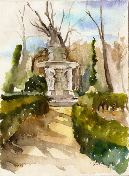 Watercolor of Aranjuez El Parque del Principe Late summer, Most of the trees are bare. A beautiful stone statue in the middle.