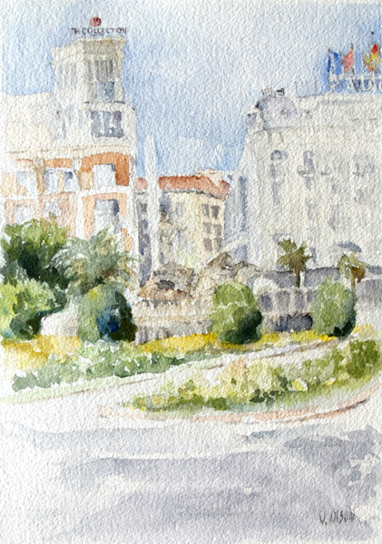 watercolor of the Paseo del Prado in Madrid, Spain Neptune fountain is in the middle of the glorieta. Official Buildings and hotel seen in the background with flags on the top