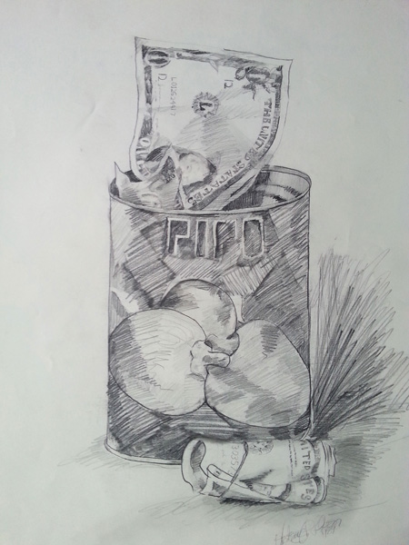 A loose hatch drawing of a can of pipo pimientos. A Mexican brand used as a money stash.