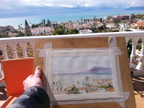 Plein air painting of a small village by the sea near Malaga, Spain.