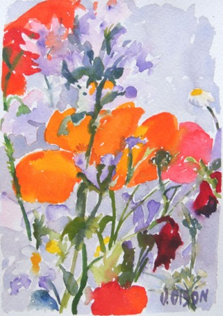 A small watercolor of spanish poppies with little purple wildflowers and daisies.