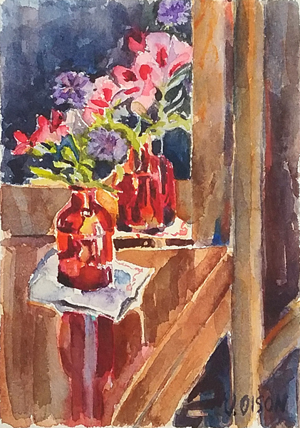 A small watercolor of a red bottle and pink and purple flowers reflected in the mirror