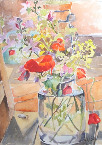 A watercolor of Spanish red poppies and little purple and yellow flowers in a glass pickle jar.